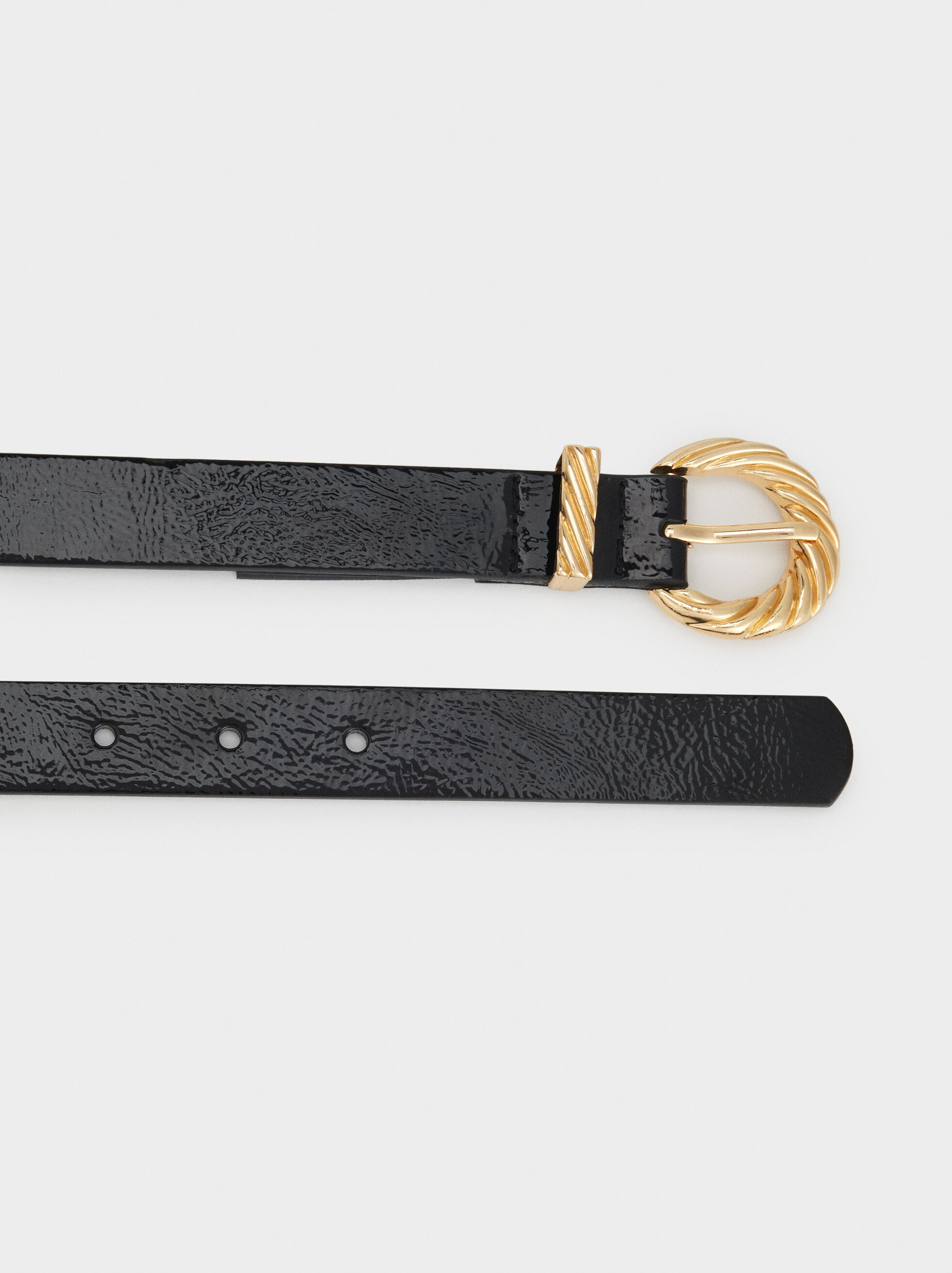 Belt With Golden Buckle, Black, hi-res
