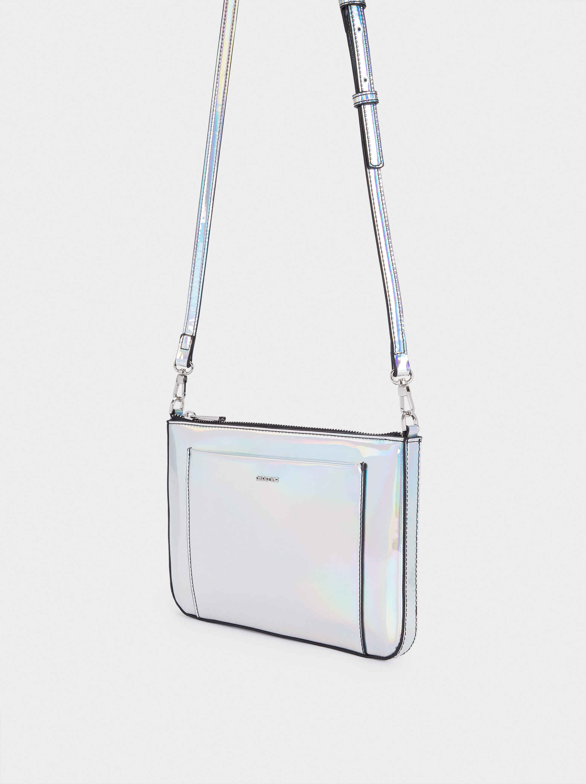 Crossbody Bag With Patent Finish, Blue, hi-res