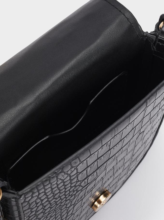 Sac À Bandoulière Motif Gravé Animal, Noir, hi-res