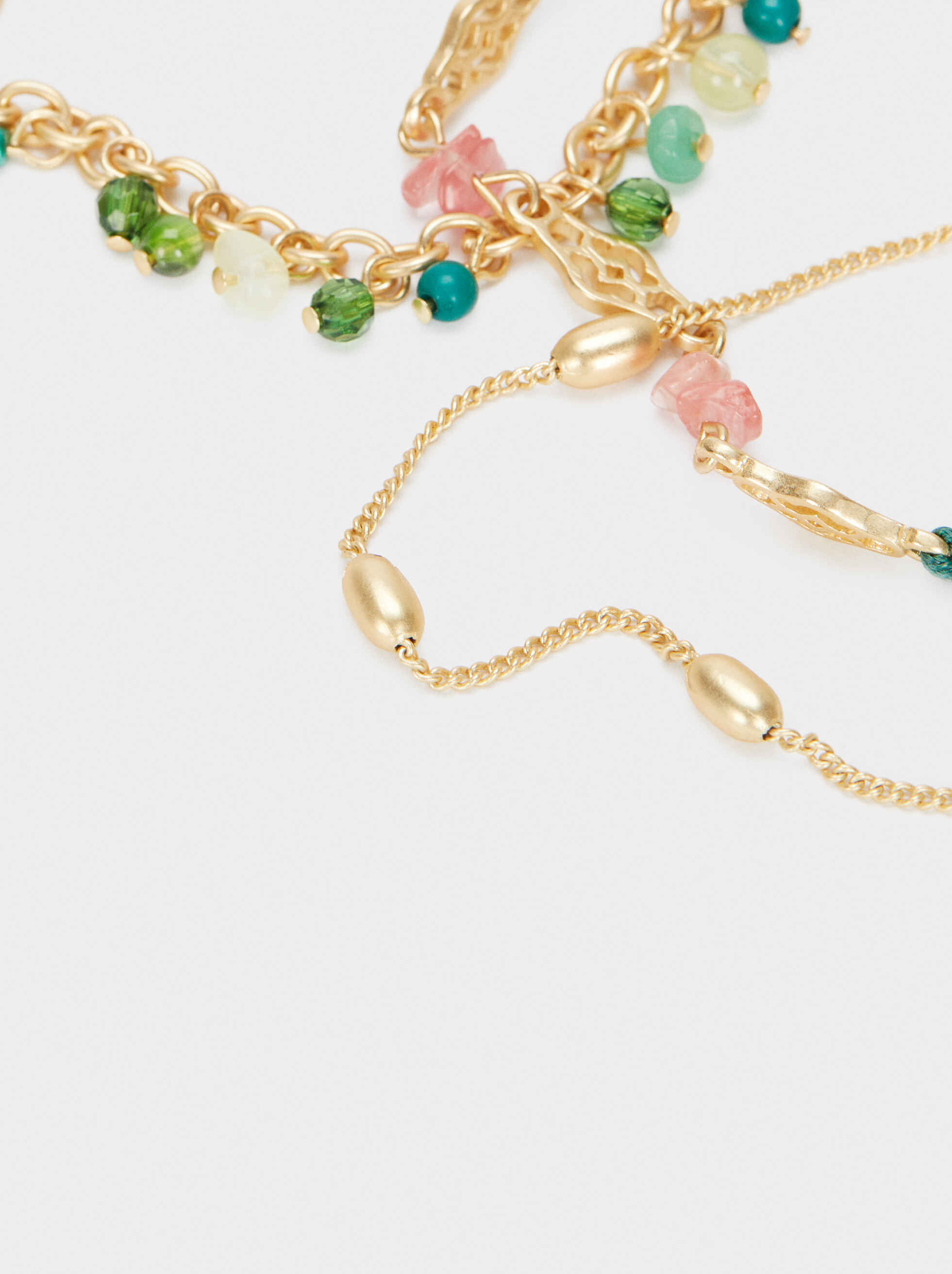 Set Of Gold Bracelets With Stones And Beads, Multicolor, hi-res