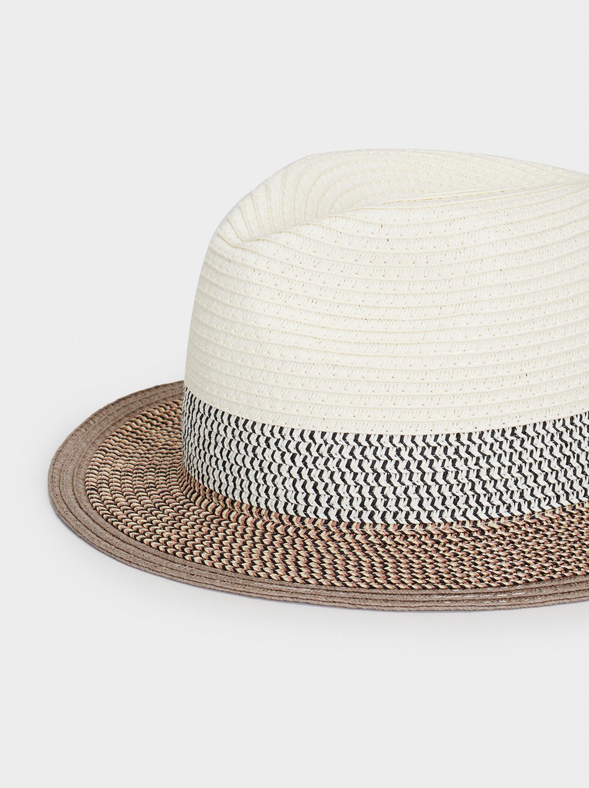 Straw Finish Hat , White, hi-res