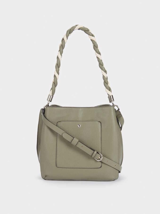 Handbag With Braided Handle, Khaki, hi-res