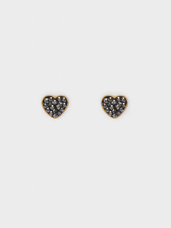 Short Steel Earrings With Heart, Golden, hi-res