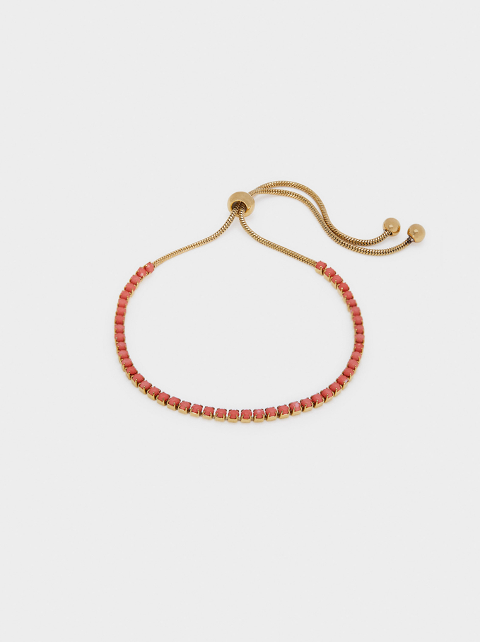 Adjustable Stainless Steel Bracelet With Beads, Coral, hi-res