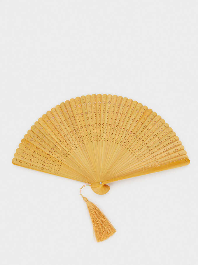 Perforated Fan With Tassel, Yellow, hi-res
