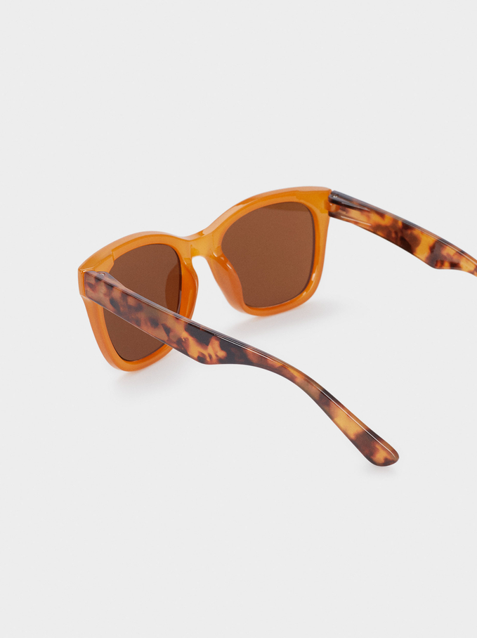 Sunglasses With Resin Frame, Camel, hi-res