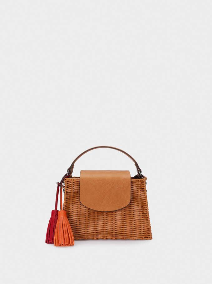 Raffia Textured Crossbody Bag With Pendants, Camel, hi-res