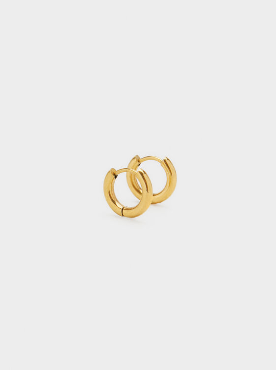 Basic Small Steel Hoop Earrings, , hi-res