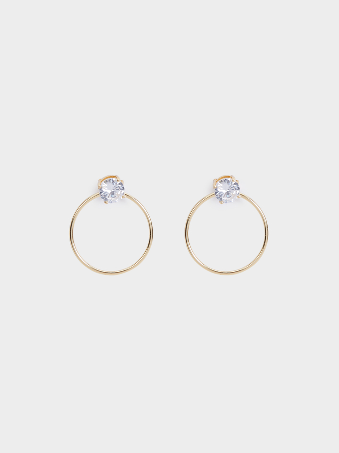 Silver 925 Medium Earrings With Stone, Golden, hi-res