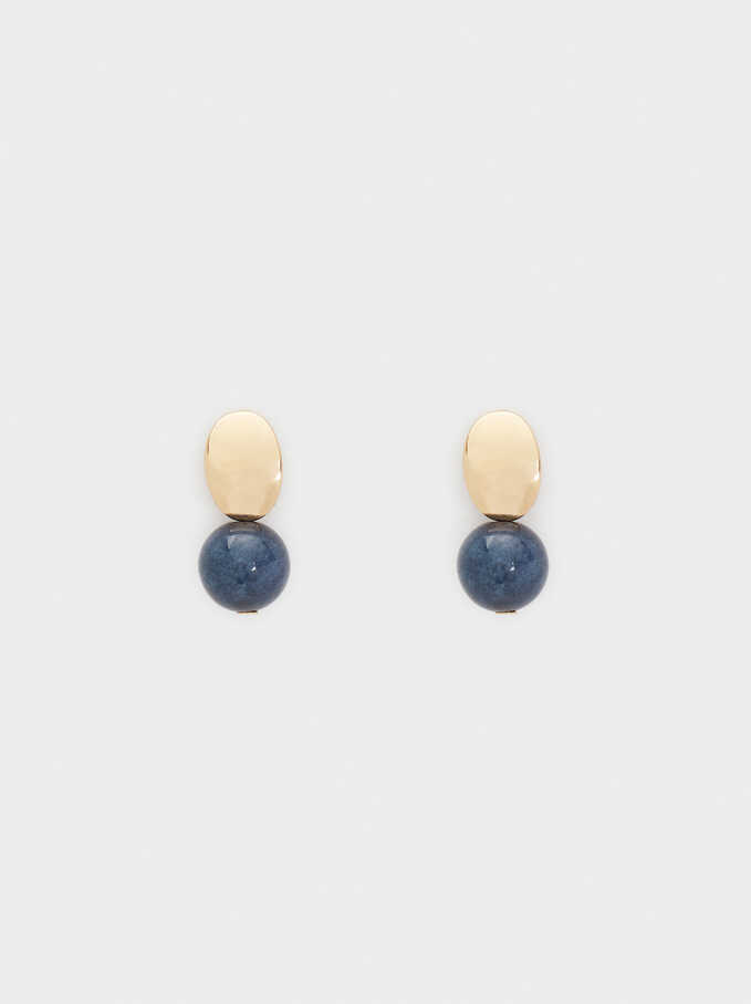 Stone Stud Earrings, , hi-res