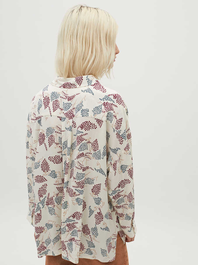 Printed Oversized Shirt, Ecru, hi-res