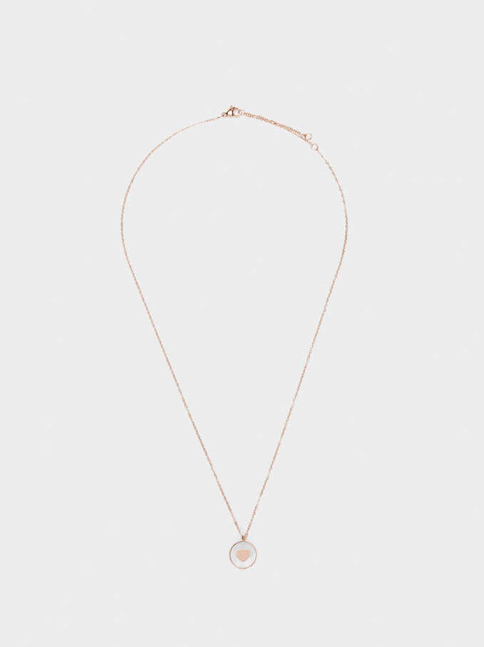 Short Rose Gold Stainless Steel Necklace With Crystal Detail, Orange, hi-res