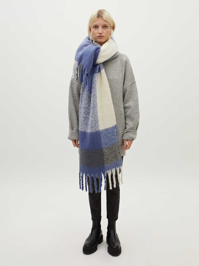 Large Scarf With Check Print, Blue, hi-res