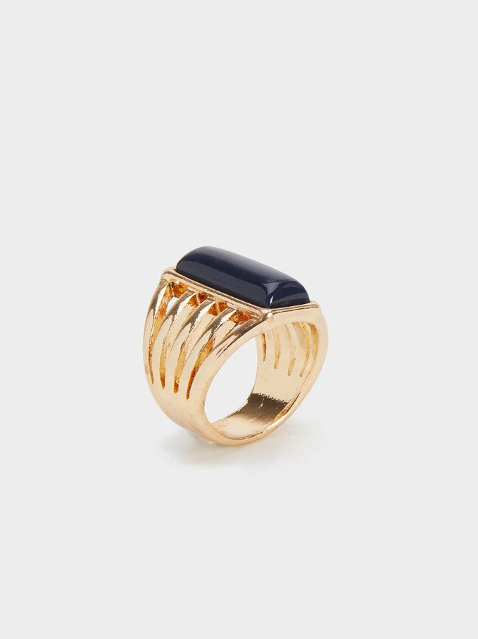 Karpa Stone Ring, Navy, hi-res