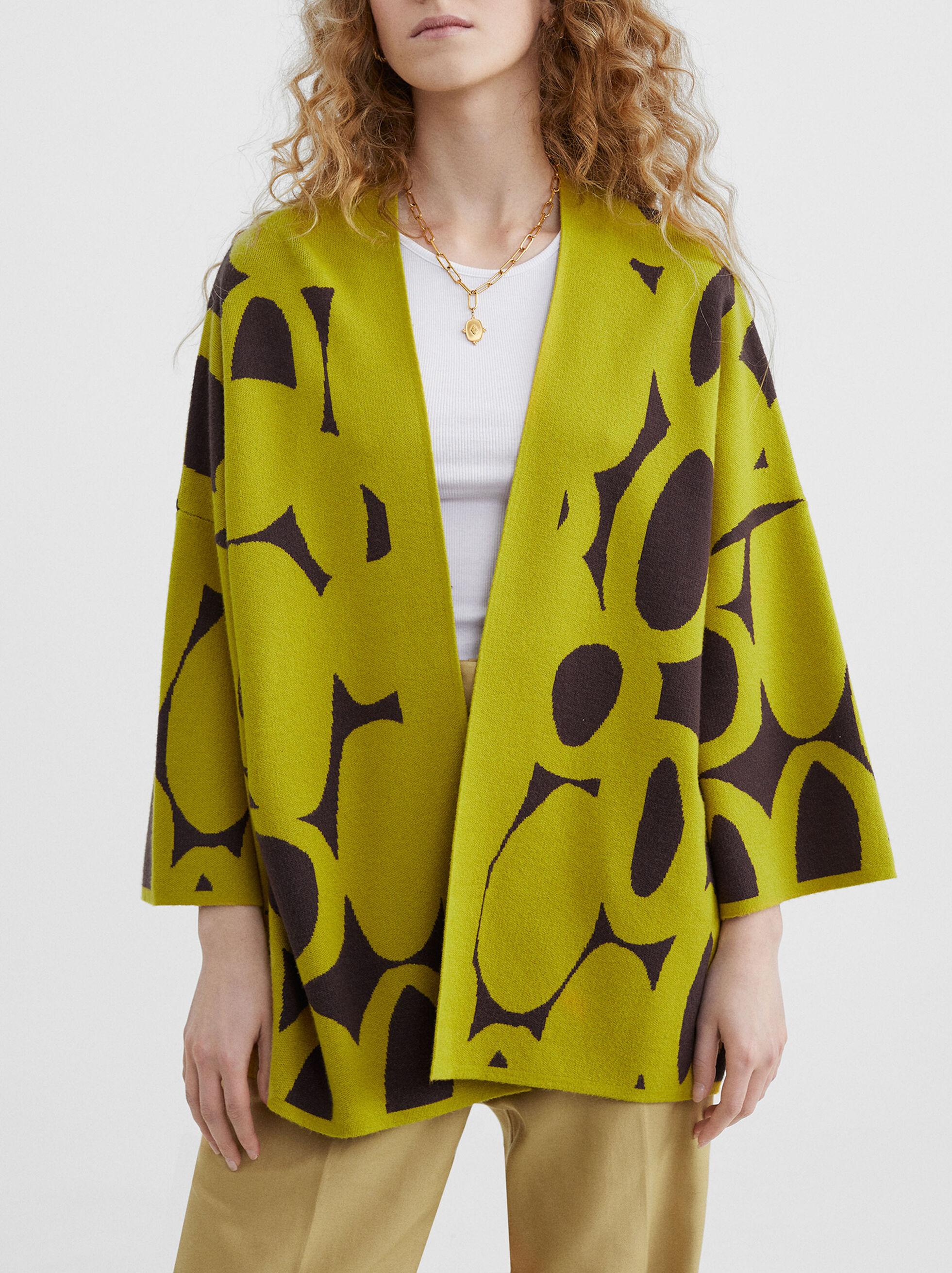 Two-Colour Knit Kimono, Yellow, hi-res