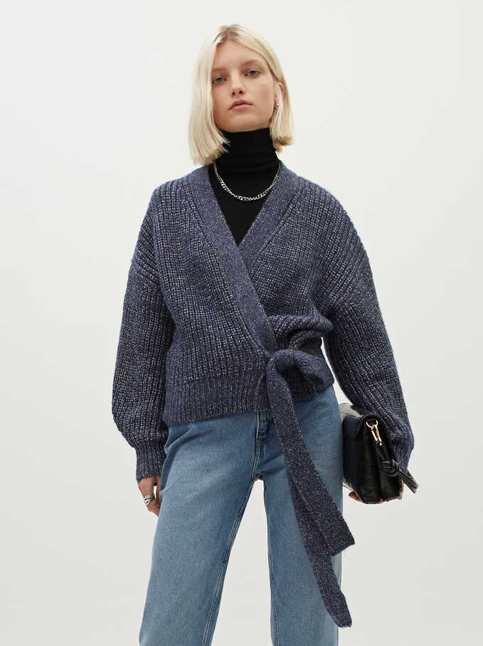 Knitted Cardigan With Belt, Blue, hi-res