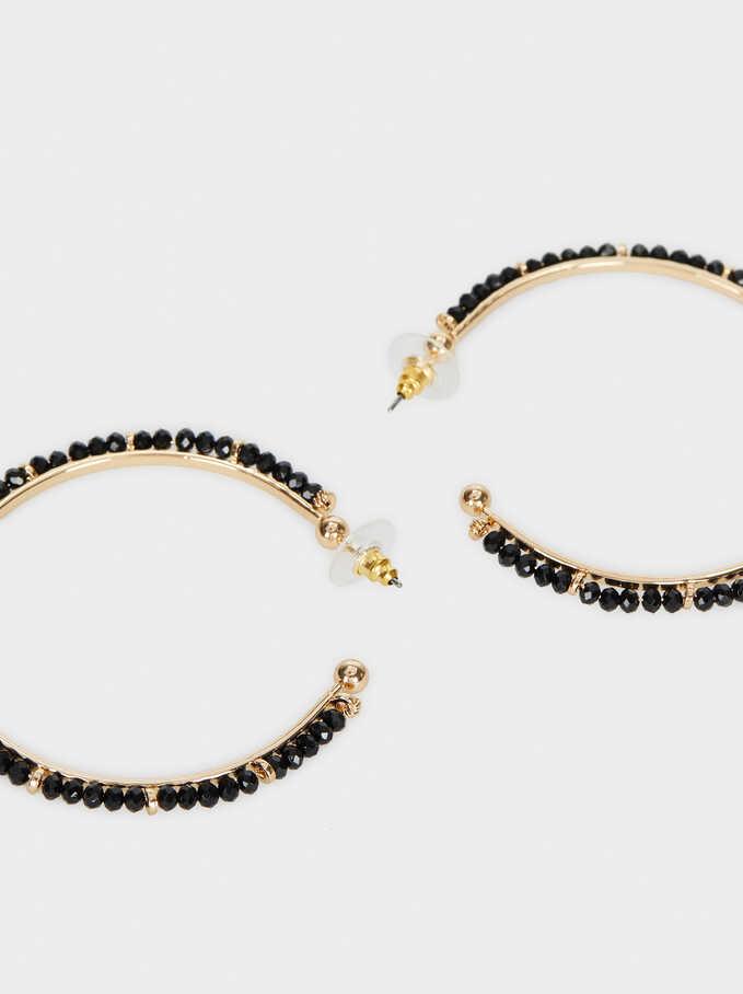 Large Hoop Earrings With Rhinestones, Multicolor, hi-res