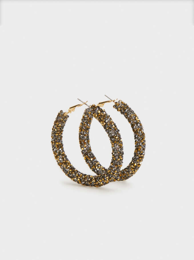 Large Rhinestone Hoop Earrings, Golden, hi-res