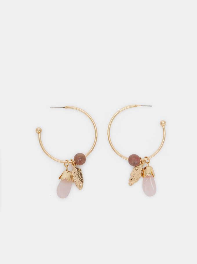 Medium Gold Hoop Earrings With Stone Detail, Multicolor, hi-res