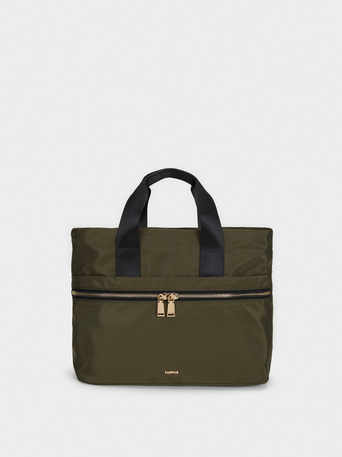 Nylon Tote Bag, Khaki, hi-res