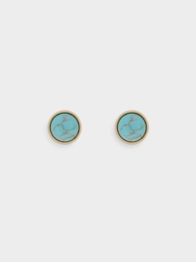 Kurze Ohrringe Mit Zierstein, Blau, hi-res