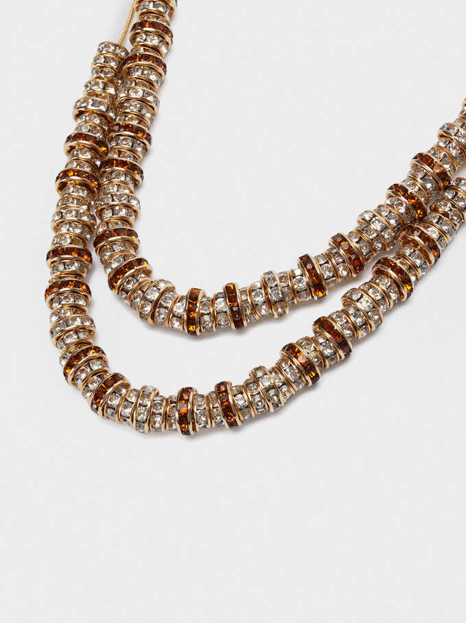 Short Double Necklace With Crystals, Golden, hi-res