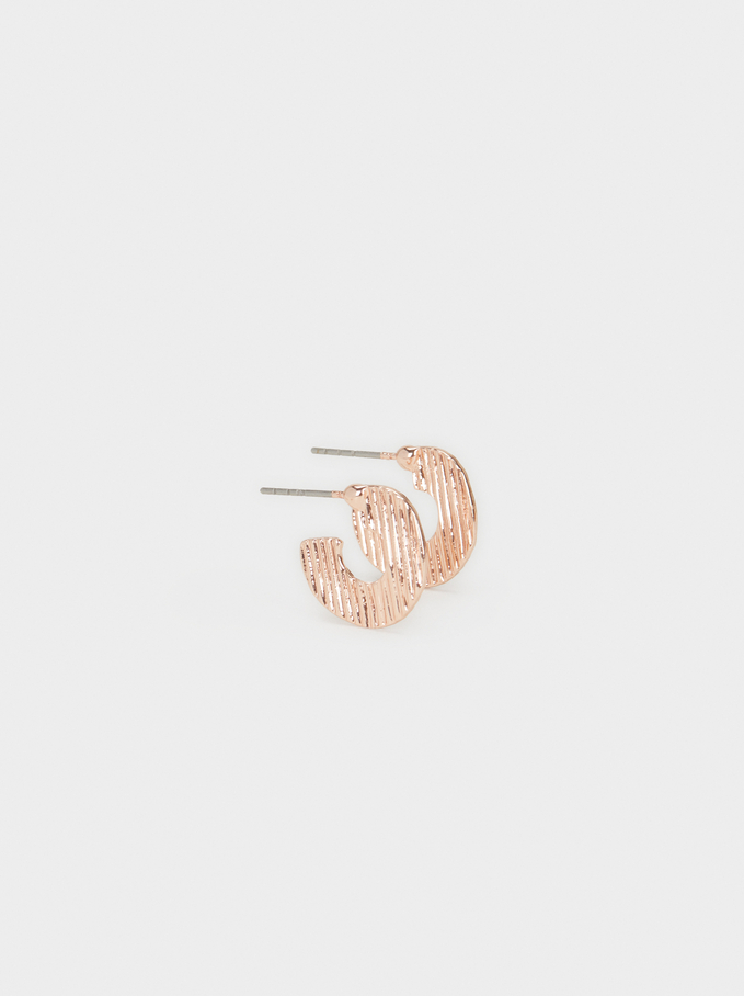 Basic Small Hoop Earrings, Orange, hi-res