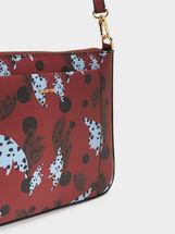 Printed Shoulder Bag, Bordeaux, hi-res