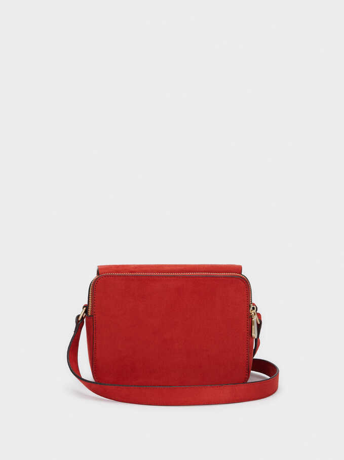 Adjustable Textured Suede Crossbody Bag, Brick Red, hi-res
