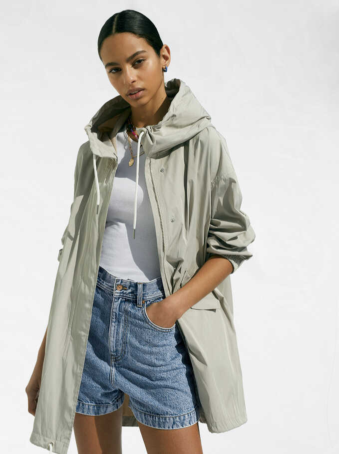 Light Jacket With Hood, Beige, hi-res