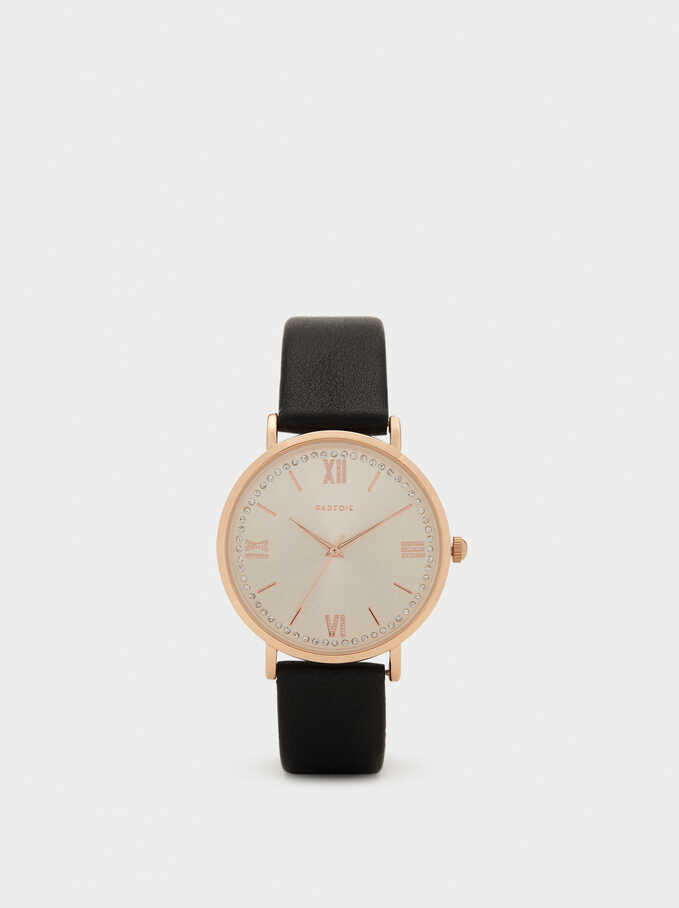 Watch With Rhinestones On The Face, Black, hi-res