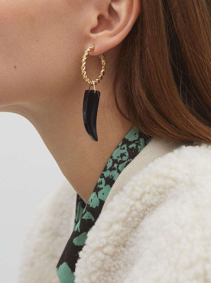 Long Star And Horn Earrings, Black, hi-res