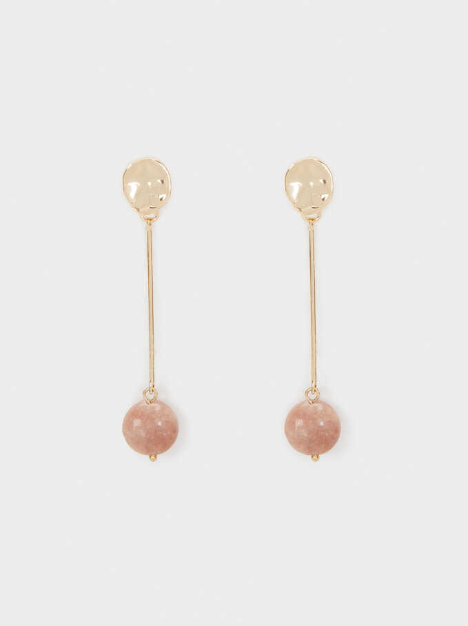 Petrified Long Dangle Earrings, Pink, hi-res