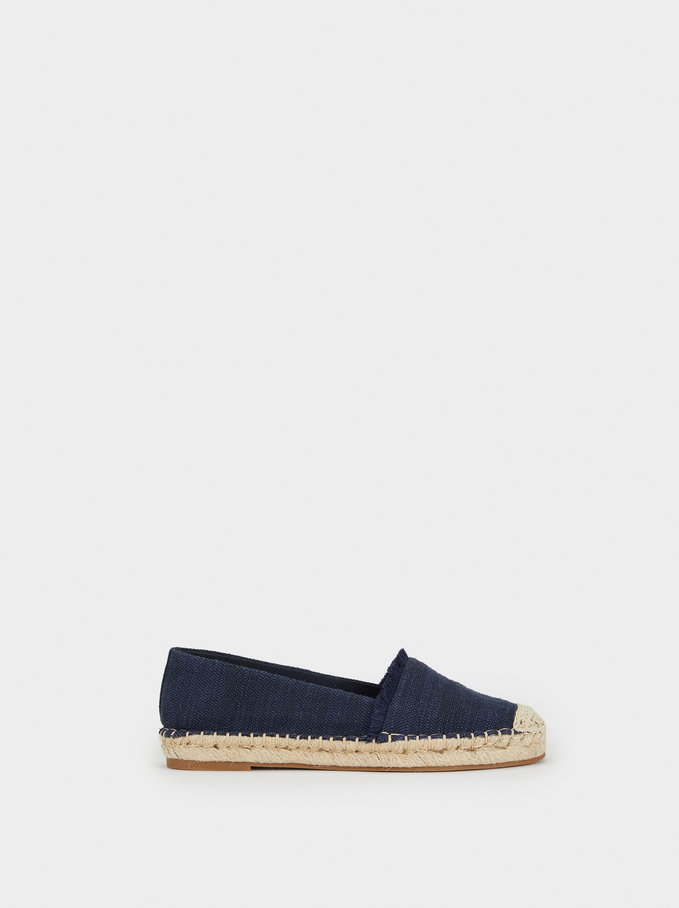Espadrilles With Rubber Soles, Navy, hi-res