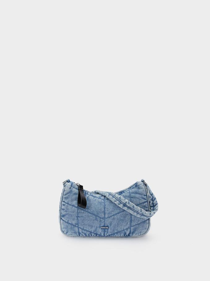 Sac Bandoulière En Denim, Bleu, hi-res