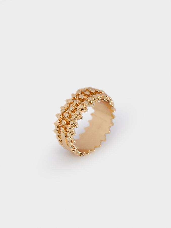 Gold Raised Effect Ring, Golden, hi-res