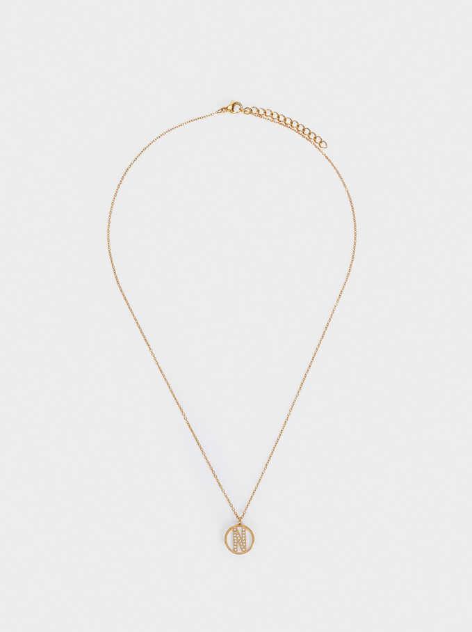 Short Steel Necklace With Letter N, Golden, hi-res
