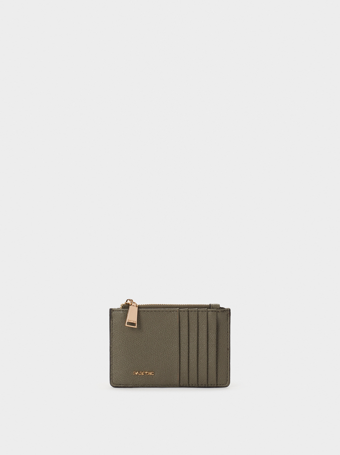 Plain Card Holder, Khaki, hi-res