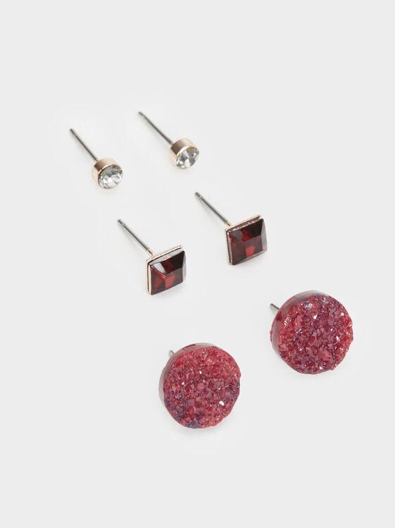 Rose Berry Set Of Earrings, Bordeaux, hi-res