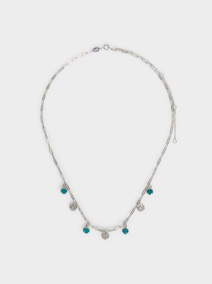 925 Silver Necklace With Beads, Blue, hi-res