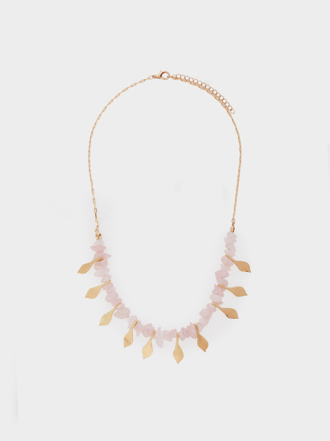 Petrified Short Beaded Necklace, Pink, hi-res