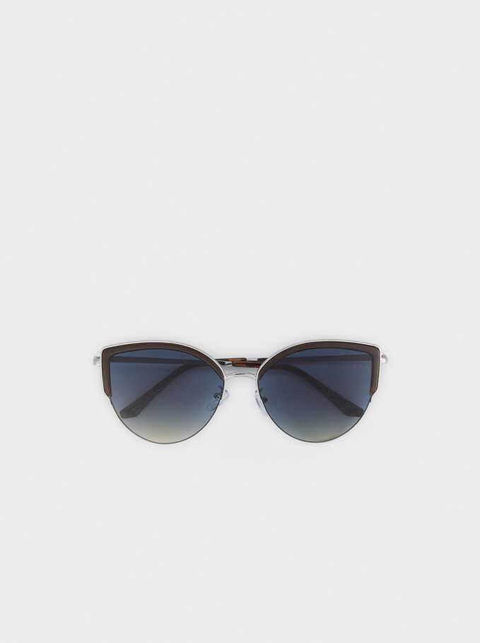 Gafas De Sol Metálicas, Plateado, hi-res