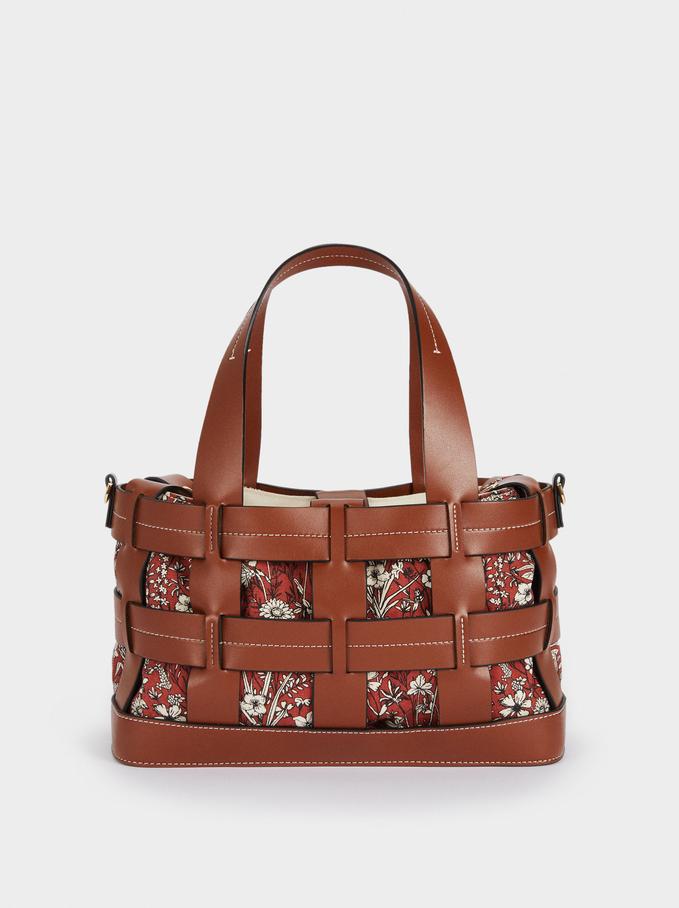Bolso Shopper Entrelazado Interior Extraíble, Camel, hi-res