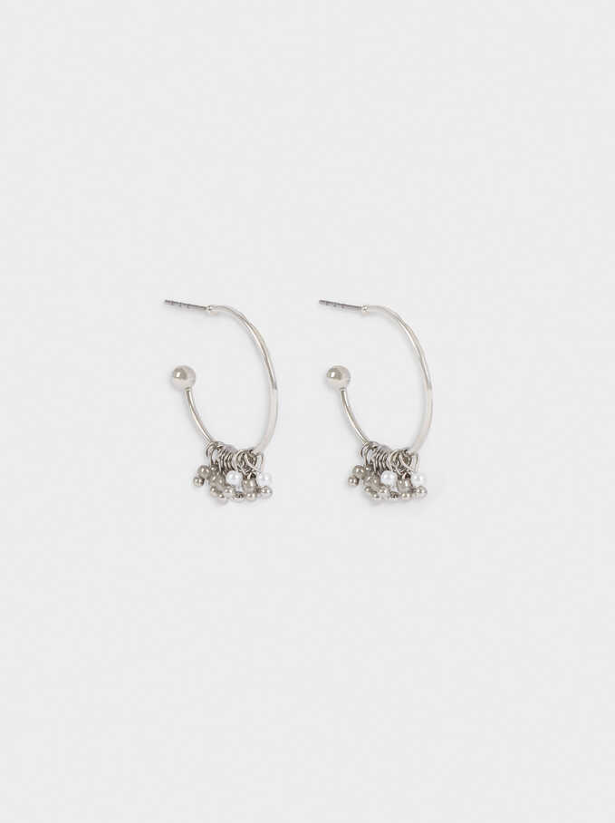 Small Hoop Earrings With Beads, Silver, hi-res