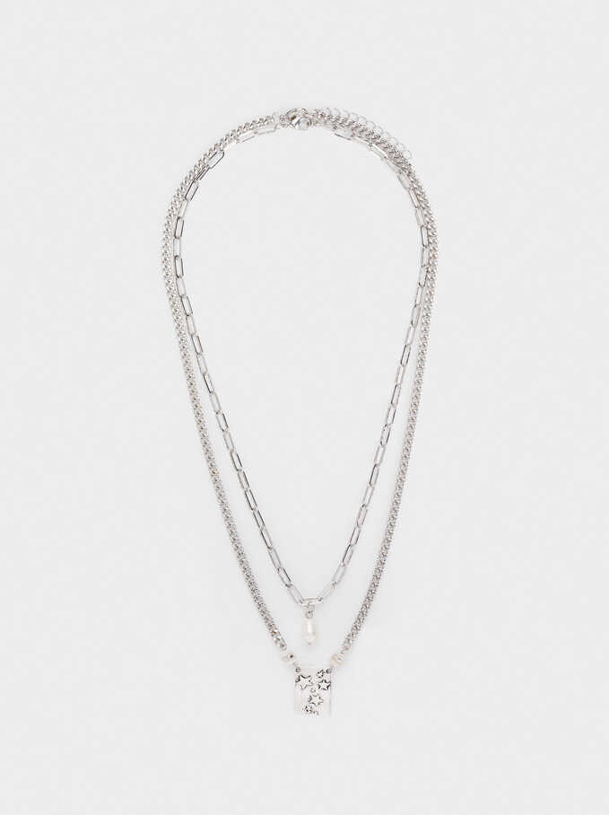 Long Chain Necklace With Pearl, Silver, hi-res