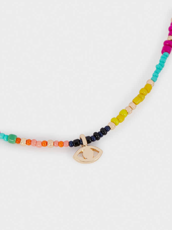 Short Necklace With Beads And Eye Detail, Multicolor, hi-res