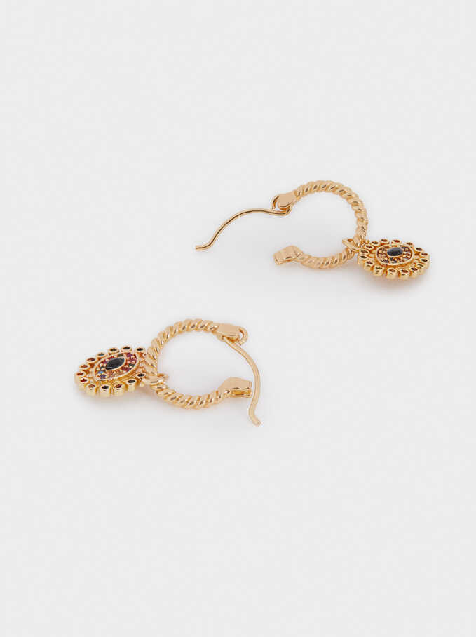 Small Eye Hoop Earrings With Zirconia, Golden, hi-res
