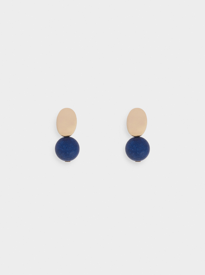 Stone Stud Earrings, Blue, hi-res