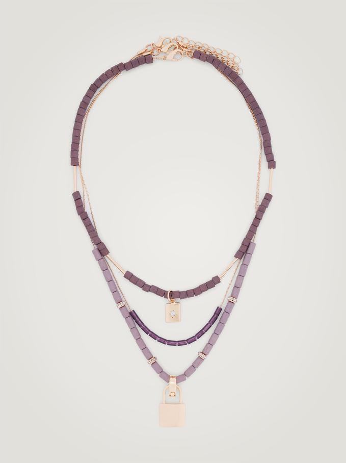 Conjunto De Collares Con Piedras Y Charms, Violeta, hi-res