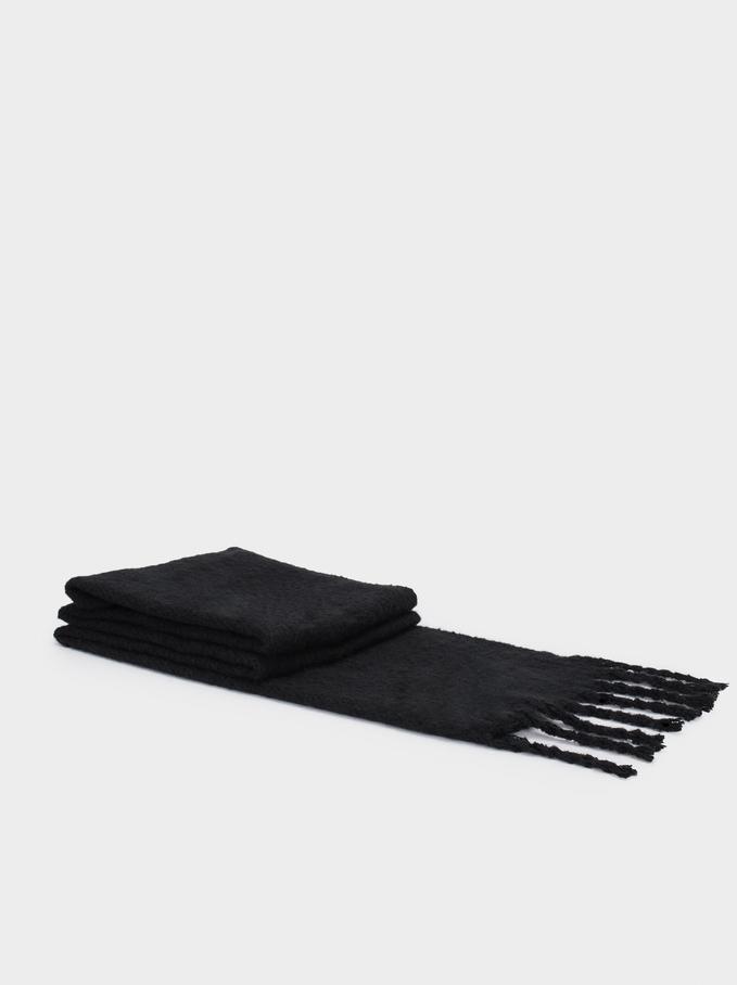 Blanket Scarf With Fringing, Black, hi-res